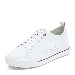 Teenmix/天美意2018秋专柜同款白/紫色牛皮革平跟小白鞋女休闲鞋AS341CM8