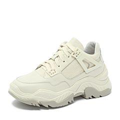 Teenmix/天美意2018秋专柜同款米白色牛皮革/纺织品厚底运动风女休闲鞋AS351CM8