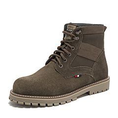 Teenmix/天美意2018冬专柜同款墨绿/啡色牛二层革/纺织品方跟马丁靴男靴68V41DD8