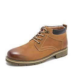 Teenmix/天美意2018冬商场同款棕色磨砂牛皮革方跟男休闲靴CAB01DD8