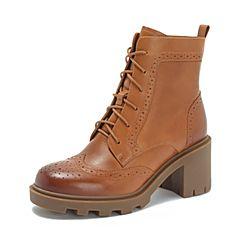 Teenmix/天美意2018冬棕色擦色牛皮革英伦风粗高跟马丁靴女中靴CFE42DZ8