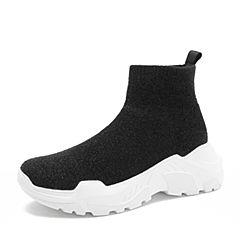 Teenmix/天美意2018冬黑色纺织品厚底运动风休闲袜靴女短靴18038DD8