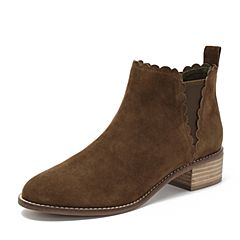 Teenmix/天美意2018冬商场同款卡其色羊绒皮革方跟切尔西靴女短靴AS451DD8