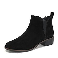 Teenmix/天美意2018冬商场同款黑色羊绒皮革方跟切尔西靴女短靴AS451DD8