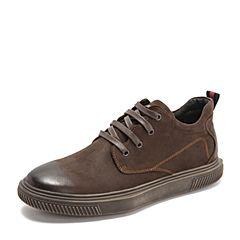 Teenmix/天美意2018冬商场同款棕色磨砂牛皮革平跟男休闲靴2KQ01DD8