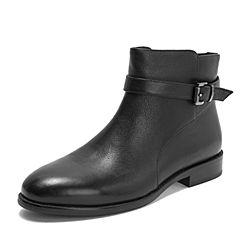 Teenmix/天美意2018冬商场同款黑色牛皮革皮带扣方跟女短靴AS491DD8