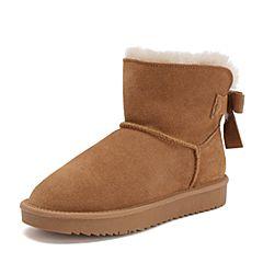 Teenmix/天美意2018冬商场同款棕色牛剖层皮革蝴蝶结平跟雪地靴女短靴AS911DD8