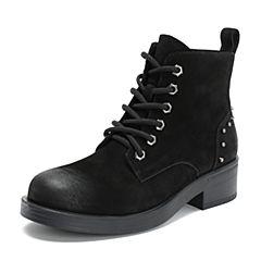 Teenmix/天美意2018冬商场同款黑色牛皮革时尚铆钉优雅粗跟女短靴AT011DD8