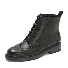 Teenmix/天美意2018冬黑色打蜡羊皮革英伦风方跟马丁靴女短靴80904DD8