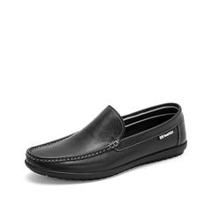 Teenmix/天美意2019春新款商场同款黑色套?#25490;?#30382;革男休闲鞋2LP01AM9
