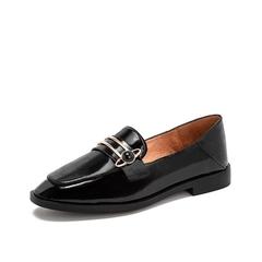 Teenmix/天美意2019春新款商场同款黑色金属装?#32441;?#30382;牛皮革女皮鞋穆勒鞋单鞋CFN10AQ9