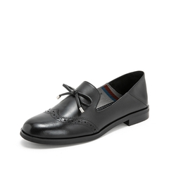 Teenmix/天美意2019春新款商场同款黑色打蜡牛皮革女皮鞋CBQ08AQ9