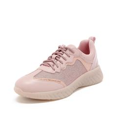 Teenmix/天美意2019春新款商场同款粉/粉银色牛皮革/纺织品女运动休闲鞋CH623AM9