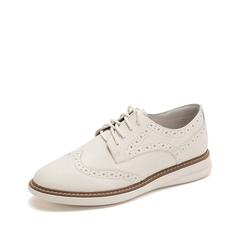 Teenmix/天美意2019春新款商场同款米色英伦休闲牛皮革女皮鞋满帮鞋CIC20AM9