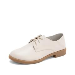 Teenmix/天美意2019春新款商场同款米白色牛皮革女皮鞋CCJ25AM9