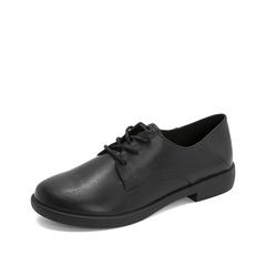 Teenmix/天美意2019春新款商场同款黑色牛皮革女皮鞋CCJ25AM9