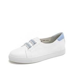Teenmix/天美意2019春新款商场同款白/兰色牛皮革女皮鞋板鞋6W705AQ9
