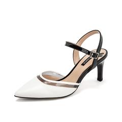 Teenmix/天美意2019?#30007;?#27454;商场同款白色绵羊皮革女皮凉鞋CIM36BK9