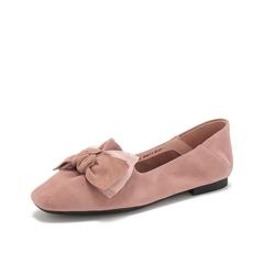 Teenmix/天美意2019春新款商场同款粉色蝴蝶结穆勒后跟羊绒皮革女皮鞋6B712AQ9