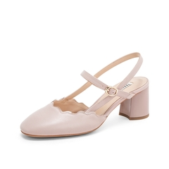 Teenmix/天美意2019?#30007;?#27454;商场同款粉色波浪花边女后空凉鞋CHT30BH9