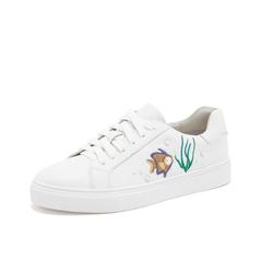 Teenmix/天美意2019春新款商场同款白色海洋元素牛皮革女休闲鞋板鞋CH323AM9