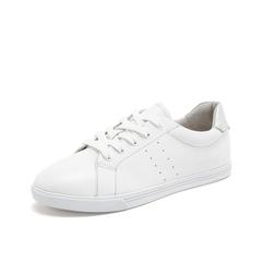Teenmix/天美意2019春新款商场同款白色牛皮革/绵羊皮革女皮鞋系带小白鞋6V532AM9