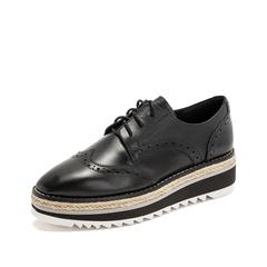 Teenmix/天美意2019春新款商场同款黑色打蜡牛皮革女皮鞋满帮鞋CHY20AM9