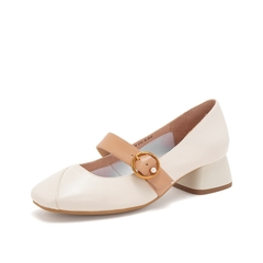 Teenmix/天美意2019春新款商场同款米白简约绵羊皮革女皮鞋CAD14AQ9