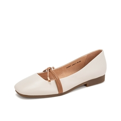 Teenmix/天美意2019春新款商场同款米白色方头绵羊皮革女皮鞋CH201AQ9