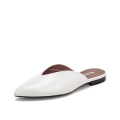 Teenmix/天美意2019?#30007;?#27454;商场同款米白色绵羊皮革女皮凉鞋外穿拖鞋CB537BH9
