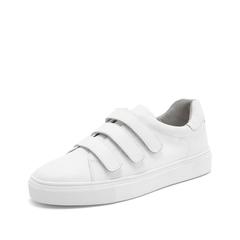 Teenmix/天美意2019春新款商场同款白色魔术贴牛皮革女皮鞋CH321AM9