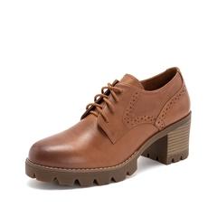 Teenmix/天美意2019春新品商场同款棕色擦色牛皮革女皮鞋CHQ20AM9