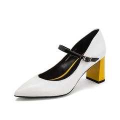 Teenmix/天美意2019春新款商场同款白色尖头撞色牛皮革女皮鞋单鞋CIM02AQ9