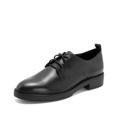 Teenmix/天美意2019春新品商场同款黑色擦色牛皮革女皮鞋CAT25AM9