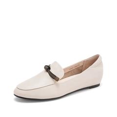 Teenmix/天美意2019春新款商场同款米白色牛皮革女休闲鞋AT231AQ9