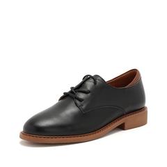 Teenmix/天美意2019春新款商场同款黑色牛皮革女皮鞋AT281AM9