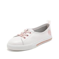 Teenmix/天美意2019春新款商场同款白色牛皮革女休闲鞋AT241AQ9