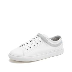 Teenmix/天美意2019春新款商场同款白色牛皮革/人造革女休闲鞋AT401AM9