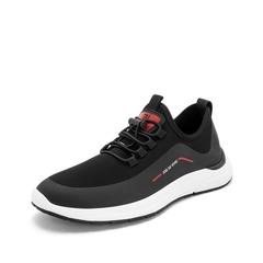 Teenmix/天美意2019春新品商场同款黑色纺织品男运动休闲鞋2MS01AM9