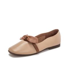 Teenmix/天美意2019春新款商场同款杏色蝴蝶结牛皮革女休闲鞋单鞋AT351AQ9