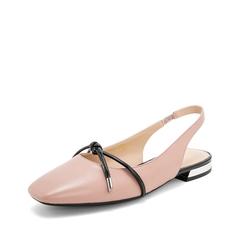 Teenmix/天美意2019春新款商场同款粉色方头羊皮革/人造革女皮凉鞋单鞋AT441AH9