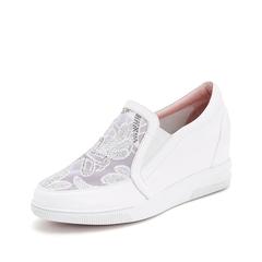 Teenmix/天美意2019春新款商场同款白色牛皮革女休闲鞋懒人鞋AT451AM9