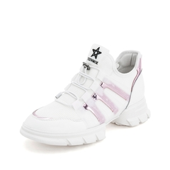 Teenmix/天美意2019春新款商场同款白色纺织品/牛皮革/胶片女旅游鞋AT501AM9