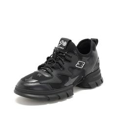 Teenmix/天美意2019春新款商场同款黑色纺织品/合成材料/牛皮革女旅游鞋AT511AM9