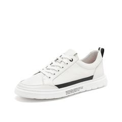 Teenmix/天美意2019春新款商场同款白色欧美简约小白鞋牛皮革男休闲鞋2MG01AM9