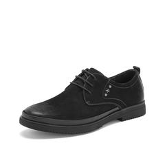 Teenmix/天美意2019春新款商场同款欧美低帮马丁工装黑色牛皮革男休闲鞋2MH01AM9