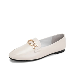 Teenmix/天美意2019春新款白色马衔扣浅口羊皮革女皮鞋单鞋A1801AQ9