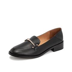 Teenmix/天美意2019春新款黑色浅口方跟羊皮革女皮鞋单鞋83902AQ9