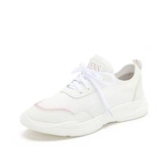 Teenmix/天美意2019春新品白色/粉色纺织品/人造革女休闲鞋满帮鞋18103AM9