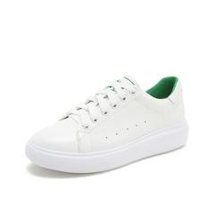 Teenmix/天美意2019春新品商场同款白色牛皮革女休闲鞋板鞋AT601AM9